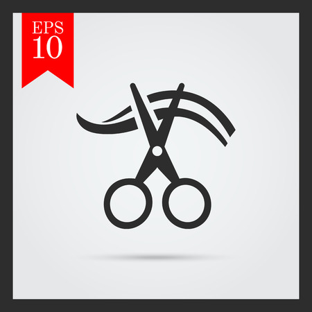 hair cutting: Icon of scissors cutting hair