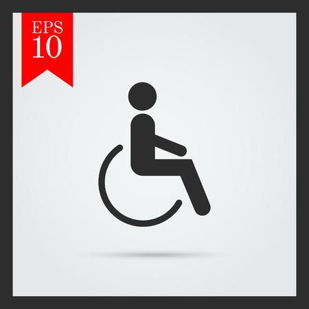 silla de rueda: Icono de la silueta del hombre en silla de ruedas