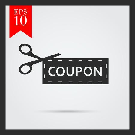buono sconto: Icona di forbici che tagliano fuori coupon di sconto Vettoriali