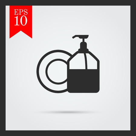 household chores: Icon of plate and pump detergent bottle