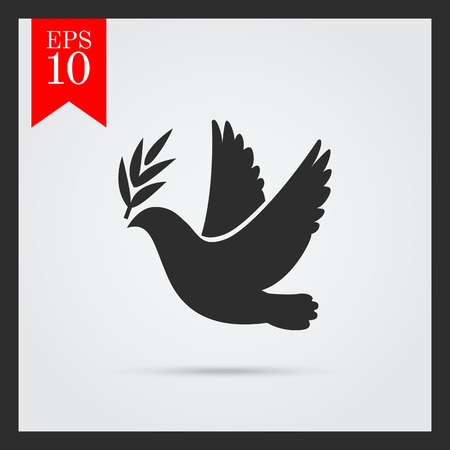 Icon of dove flying with olive twig in its beak 向量圖像