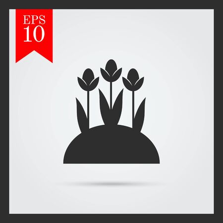 spring bed: Flower bed icon Illustration