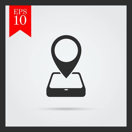 map pointer: Icon of map pointer and smartphone