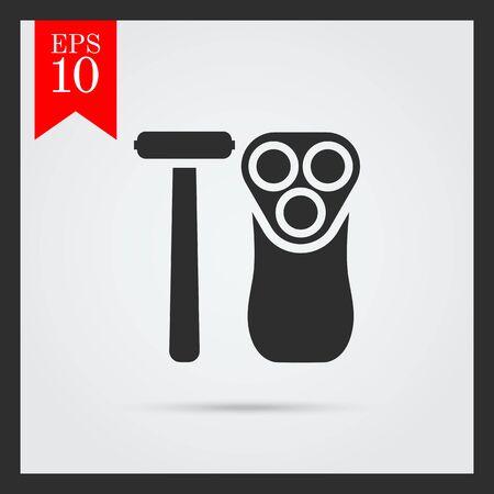 rasoio: Icona di rasoio di sicurezza e rasoio elettrico