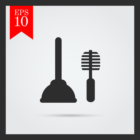 plunger: Icon of plunger and toilet brush