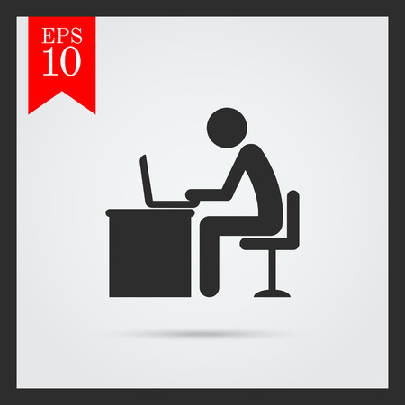 office chair: Icon of mans silhouette working on laptop Illustration