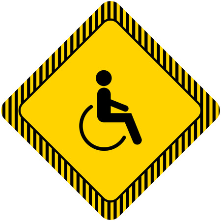 wheelchair access: Icon of mans silhouette in wheelchair