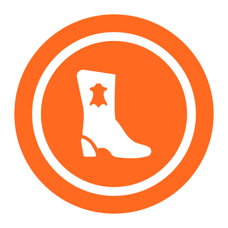leather label: Icon of boot silhouette with leather label Illustration