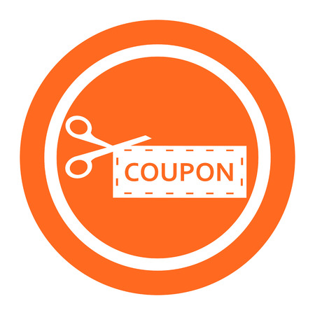 Icon of scissors cutting out discount coupon