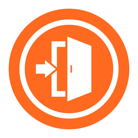doorway: Icon of exit sign with doorway and direction arrow Illustration
