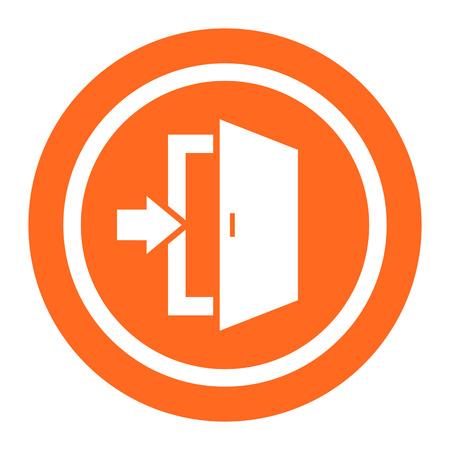 portone: Icona di uscita segno con la porta e la direzione della freccia