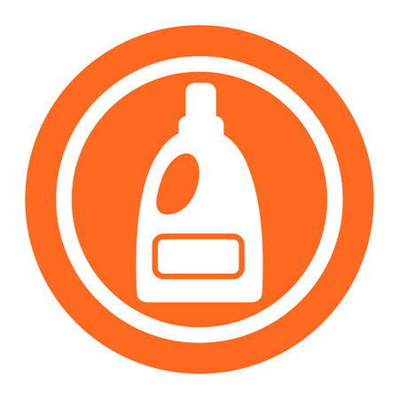 household chores: Icon of plastic bottle of liquid laundry detergent