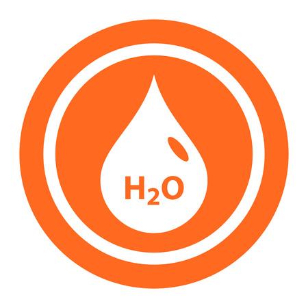 H2O の碑文と水滴のアイコン  イラスト・ベクター素材