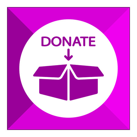 downward: Icon of open donation box with downward arrow