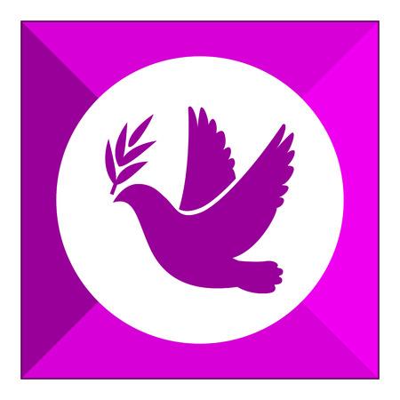 dove: Icono del paloma volando con la ramita olivo en su pico Vectores
