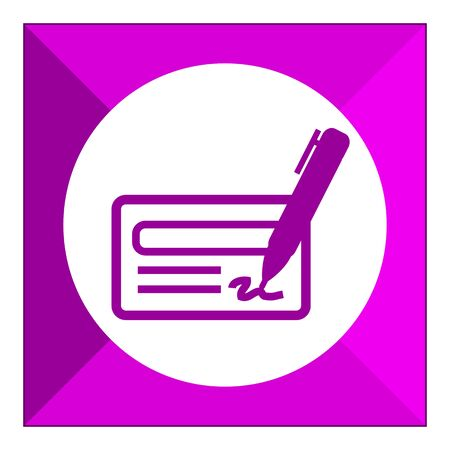 cheque: Icon of cheque book page, pen and signature