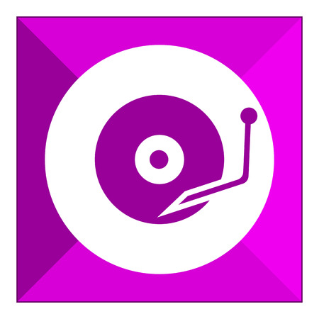 turntable: Icon of turntable playing vinyl disc Illustration