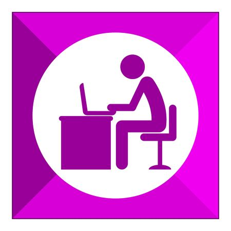 laptop icon: Icon of mans silhouette working on laptop Illustration