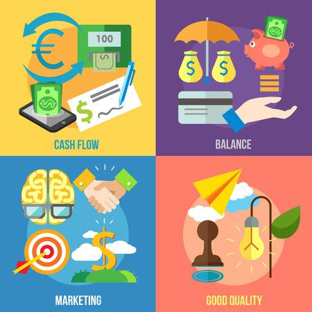 Set van platte design concepten van de cash flow, balans, marketing en een goede kwaliteit op gekleurde achtergrond