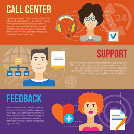 checklist: Set of flat design concepts of client service, including call center, client support and feedback on colored background Illustration