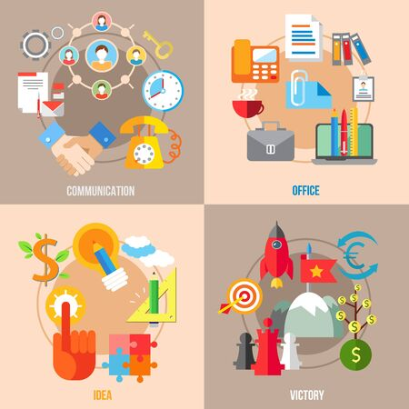communication concept: Set of flat design concepts of business communication, office, idea, victory on colored background