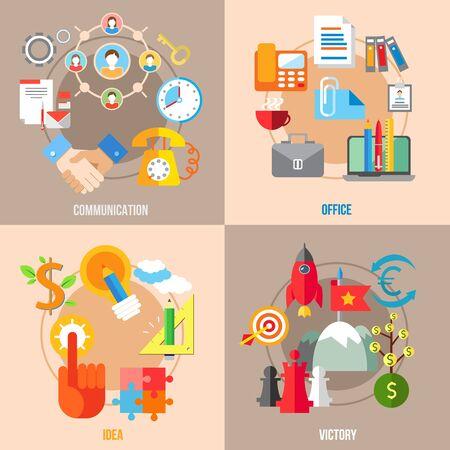 business communication: Set of flat design concepts of business communication, office, idea, victory on colored background