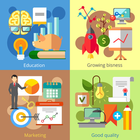 growing business: Set of flat design concepts of education, growing business, marketing, good quality on colored background Illustration