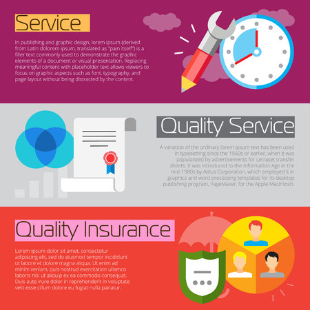 document management: Set of flat design concepts of good service elements, including service, service quality and quality insurance on colored background