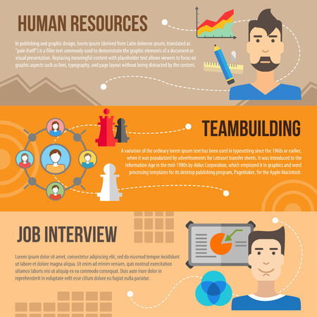 teambuilding: Set of flat design concepts of human resources, teambuilding and job interview on colored background