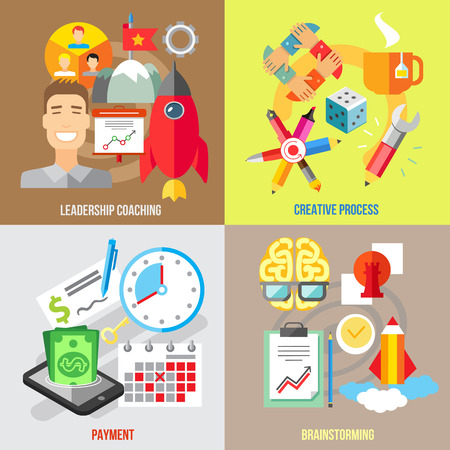 set of businessman: Set of flat design concepts of leadership coaching, creative process, payment, brainstorming on colored background