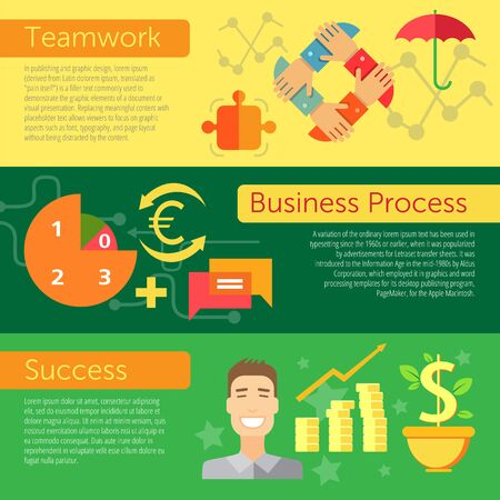 design process: Set of flat design concepts of profitable business elements, including teamwork, business process and success on colored background