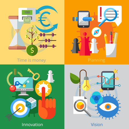 Set of flat design concepts of time - money, planning, innovation, vision on colored background