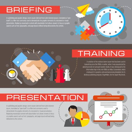 Set of flat design concepts of business public speech, including briefing, training and presentation on colored background