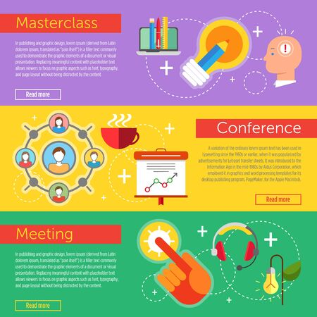 business communication: Set of flat design concepts of business communication, including masterclass, conference and meeting on colored background