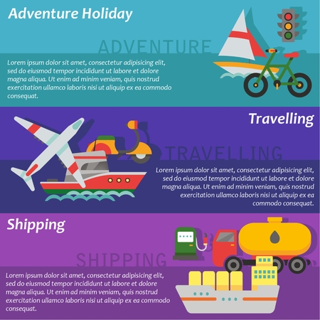 set going: Set of flat design concepts of transport using, including going on holidays, travelling and shipping on colored background Illustration