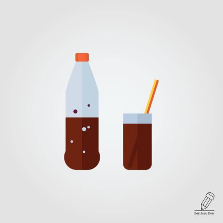 cold drinks: Icon of bottle and glass with cola