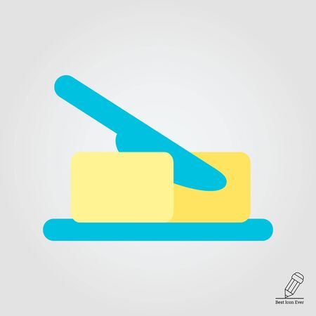 butter: Icon of butter piece being cut with knife Illustration