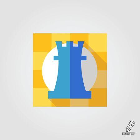 chessman: Icon of rook, chessman, in square Illustration