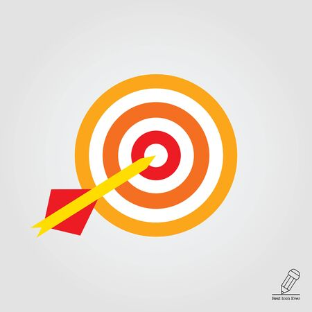 hitting: Icon of dart arrow hitting target