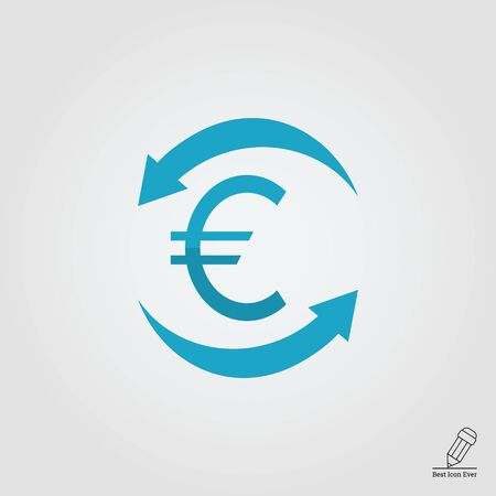 arrows circle: Icon of euro sign in circle made of arrows Illustration