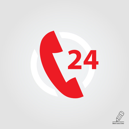 twenty four hour: Icon of twenty-four hour support service with telephone receive in circle Illustration