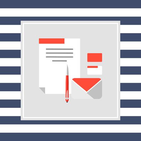 papier a lettre: Icône de la lettre, enveloppe de papier, stylo, cartes de visite Illustration