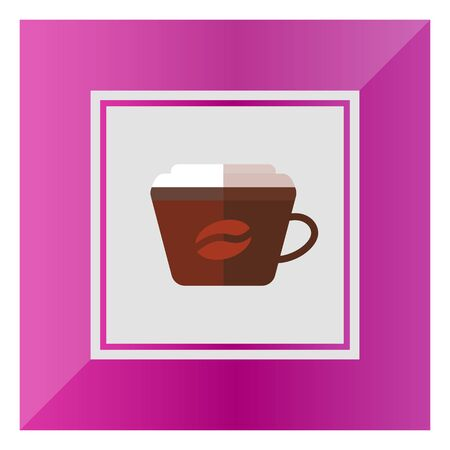 morning walk: Icon of disposable coffee cup with cover and coffee bean picture Illustration