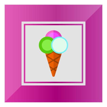 waffle cone: Icon of ice cream balls in waffle cone