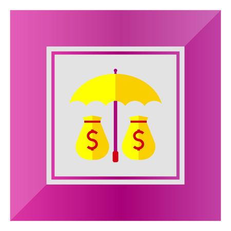 sacks: Icon of money sacks under umbrella