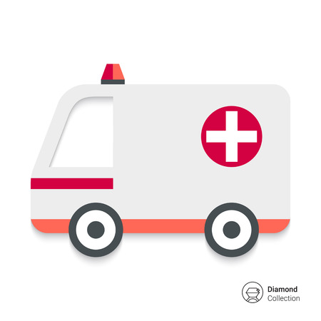 White ambulance car with cross sign and warning beacon