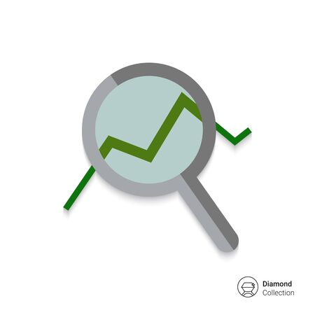 uptrend: Icon of magnifying glass with graph