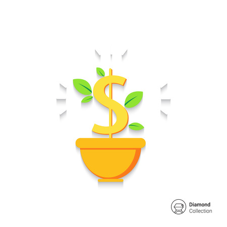 Icon of dollar sign with leaves in flower pot 向量圖像
