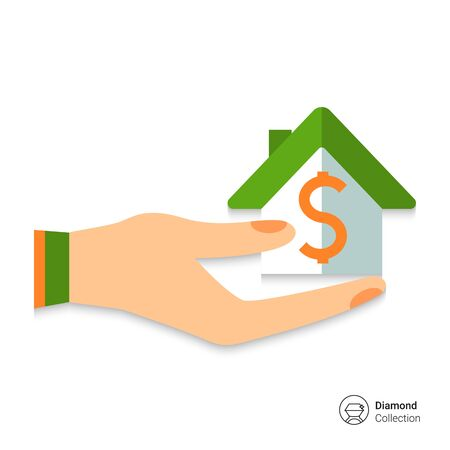 dollar icon: Icon of house with dollar sign on human palm