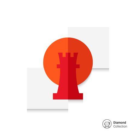 chessman: Icon of rook, chessman, in circle Illustration